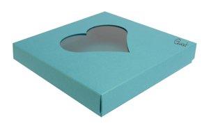 Pudełko na kartkę kwadratową z sercem - kolor turkusowy perłowy  - GoatBox