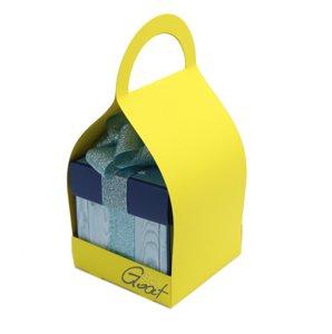 Trzymak nosidełko na exploding box - żółty z paskami